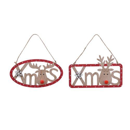 Decoris bordje met rendieren rood