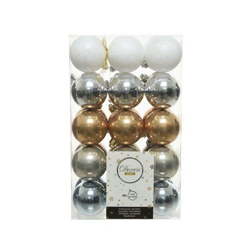 Boules de Noël couleurs mixte 6cm 30 pièces