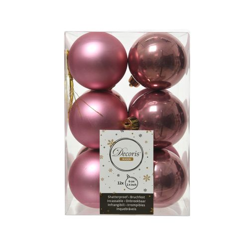 Boules de Noël mat/brillant rose 6cm 12 pièces