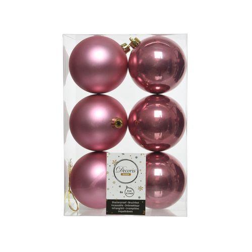 Kerstballen roze plastic 8cm 6 stuks