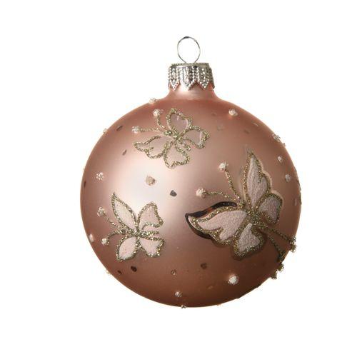 Boule de Noël Decoris papilllon verre rose 8cm