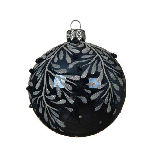Boule de Noël en verre Branche bleu 8cm