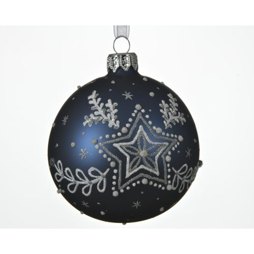 Boule de Noël en verre Etoile bleu 8cm