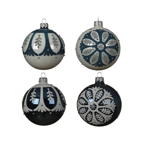 Boule de Noël Decoris folklore verre 8cm 1pièce