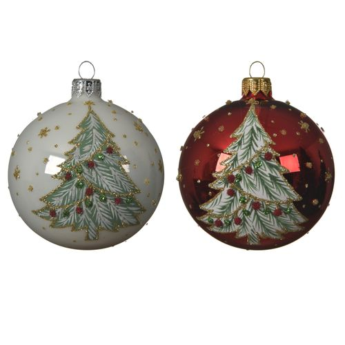 Boule de Noël en verre avec sapin 8cm 1 pièce