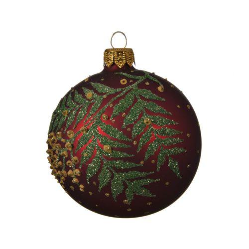 Boule de Noël Decoris branches verre bordeaux 8cm