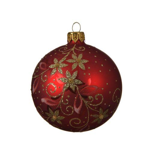 Boule de Noël Decoris fleurs verre rouge brillant 8cm