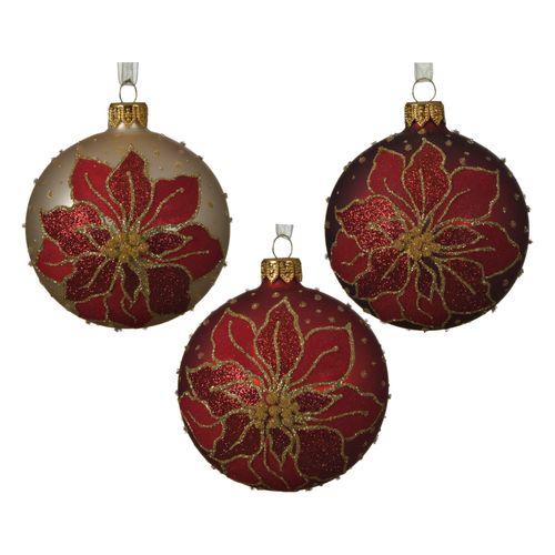 Boules de Noël poinsetia Decoris verre rouge 8cm 1pièce