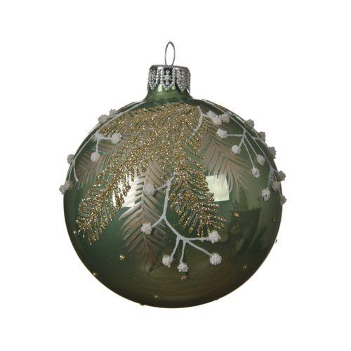 Boule de Noël en verre Branche vert 8cm