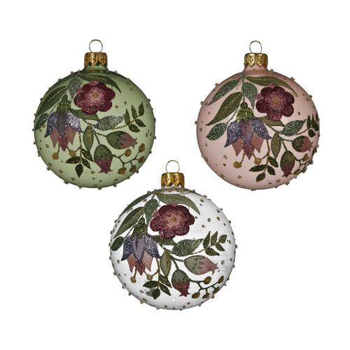 Boule de Noël Decoris verre floral 8cm 1pièce