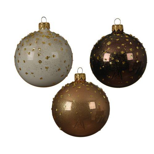 Boule de Noël en verre avec points 8cm 1 pièce