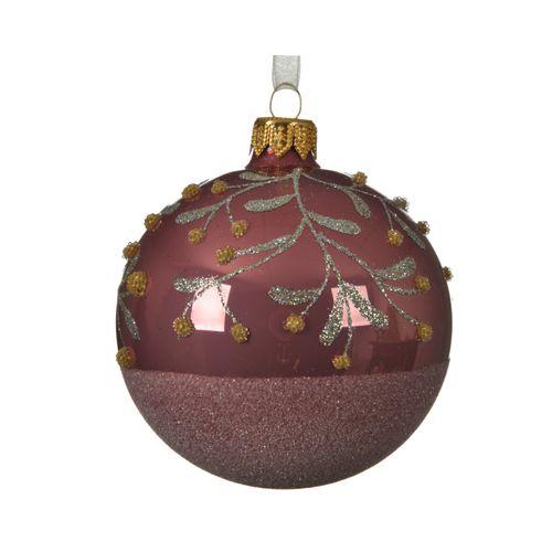 Boule de Noël Decoris verre rose 8cm