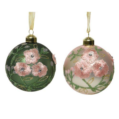 Boule de Noël en verre avec fleur 8cm 1 pièce