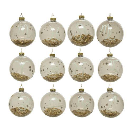 Boule de Noël en verre Zodiaque 10cm 1 pièce