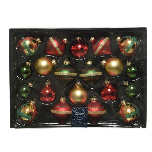 Decoris set van kerstballen in glas 8cm 20stuks