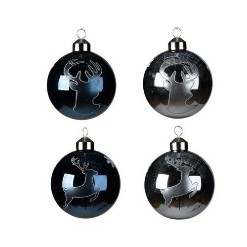 Boule de Noël Cerf en verre 8cm divers 1 pièce