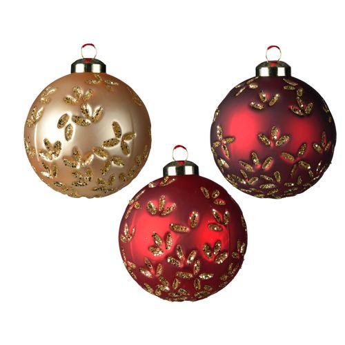 Boule de Noël Decoris verre feuille 8cm 1pièce