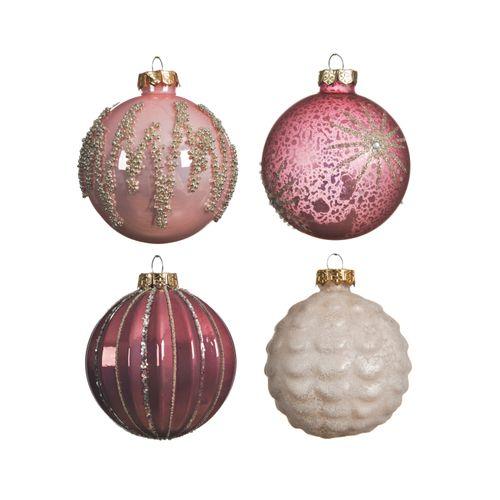 Decoris kerstballen in glas roze 8cm 1 stuk