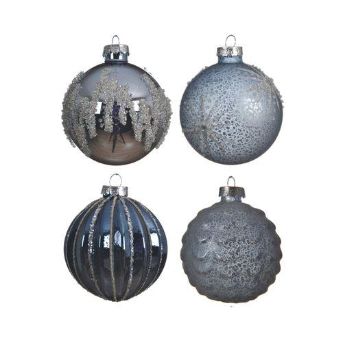 Boules de Noël Decoris verre bleu 8cm 1pièce