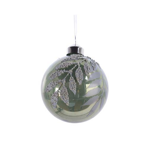 Boules de Noël en verre déco avec perles vert 8cm 3 pièces