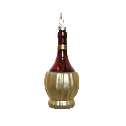 Boule de Noël Bouteille de vin scintillant 10,5cm 1 pièce