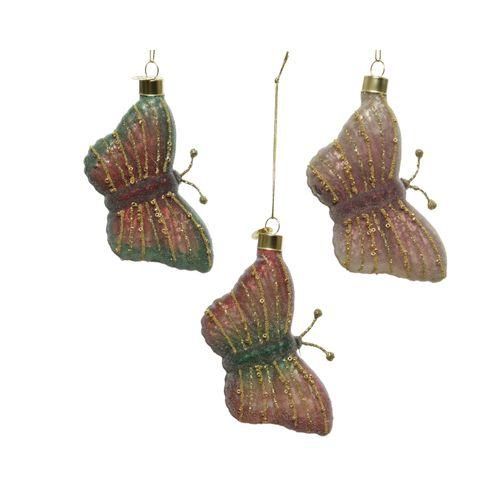 Pedentifs papillon Decoris verre rose 10cm 1pièce