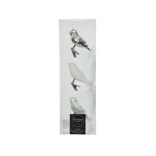 Oiseau de Noël en verre argent/blanc 8cm 3 pièces