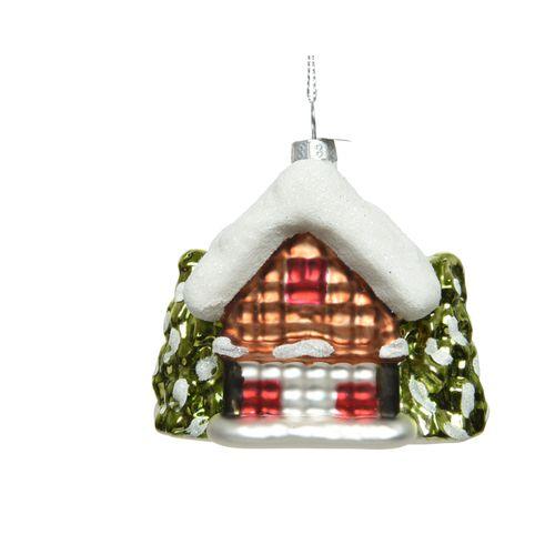 Kerstfiguur Huisje Glas rood 9,5cm