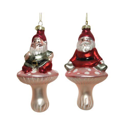 Decoris kerstmanhanger glas meerkleurig 8x15,5cm 1stuk