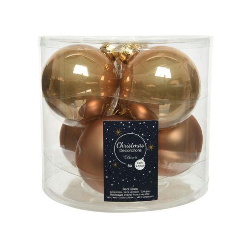 Boules de Noël en verre caramel 8cm 6 pièces