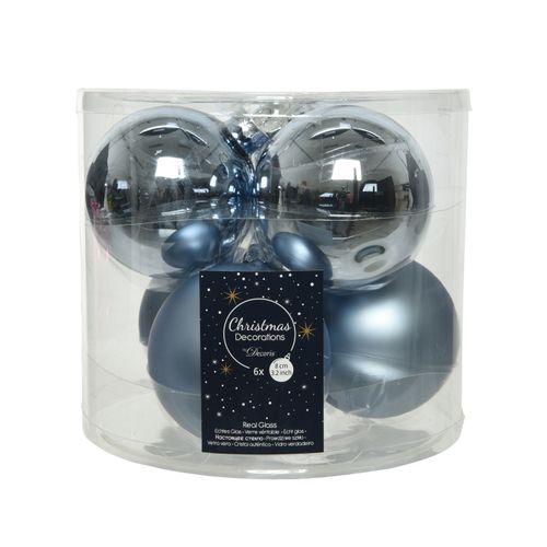 Kerstballen blauw glas 8cm 6 stuks