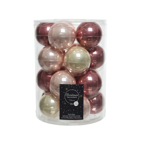 Set boules de Noël Decoris verre brillant 6cm 20pcs