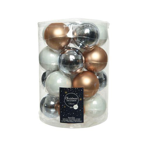 Kerstballenset Decoris glasmix 6cm 20stuks