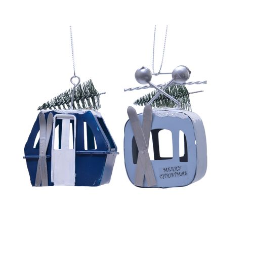 Ornement Remontée mécanique bleu 7x4x9,5cm