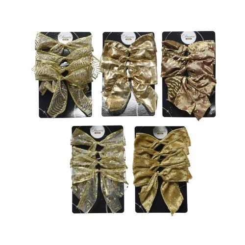 Kerststrik goud polyester 10cm 4 stuks