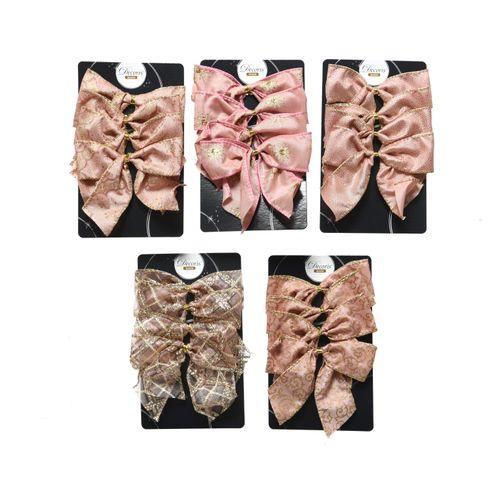 4x nœuds de décoration en polyester rose 10cm