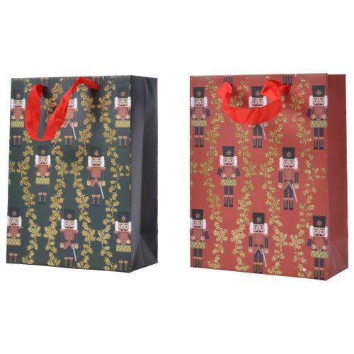 Sac cadeau casse-noisette Decoris rouge-bleu 12x30x42cm 1pièce