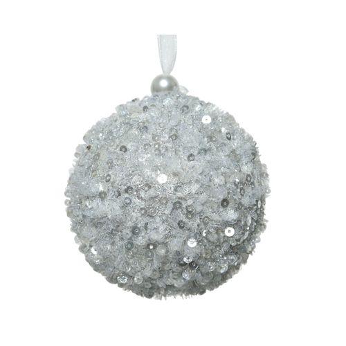 Boule de Noël mousse argent 8cm