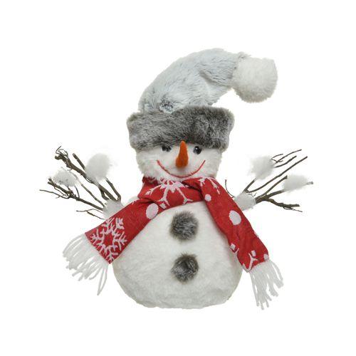 Peluche bonhomme de neige Decoris blanc 26cm