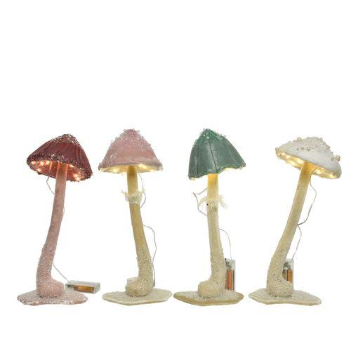 Décoration champignons Decoris LED blanc 36cm