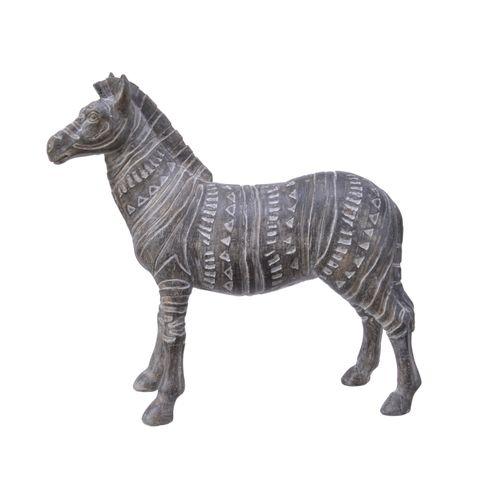 Figurine zèbre Decoris polyrésine 18x18cm