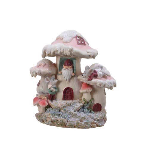 Kerstfiguur paddenstoelhuis 18cm