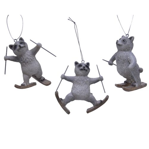 Suspension de Noël raton laveur Decoris gris 4,5x9,5x9,5 cm 1pièce