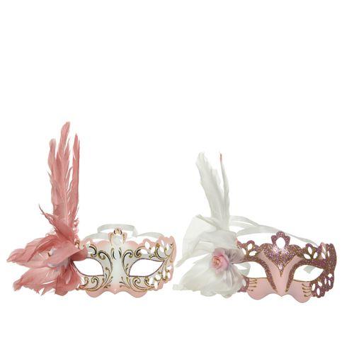 Masque vénitien Decoris plastique rose 20cm 1pièce