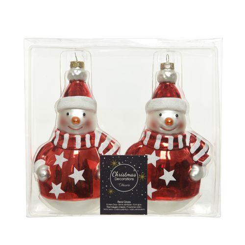 Boules de Noël bonshommes de neige Decoris 2pcs