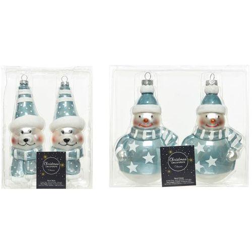 Boules de Noël Decoris bonhomme de neige et ourson bleu 2pcs