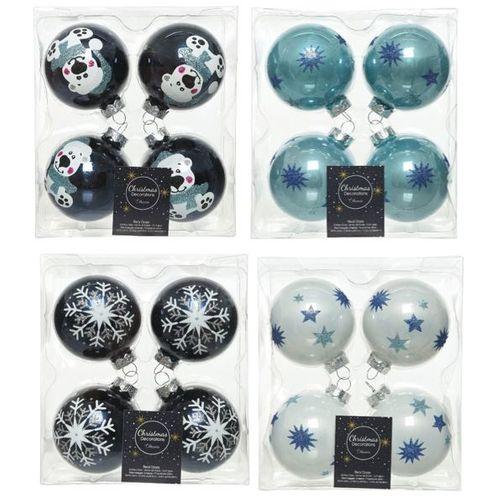 Boules de Noël Decoris verre 6,5cm 4pcs