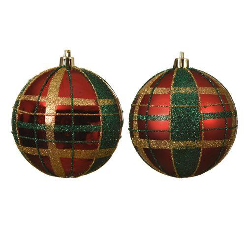 Decoris kerstballen ruitjespatroon 8 cm 1 stuk
