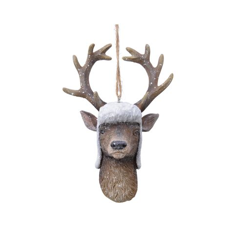 Pendentif cerf poly marron 13,3cm