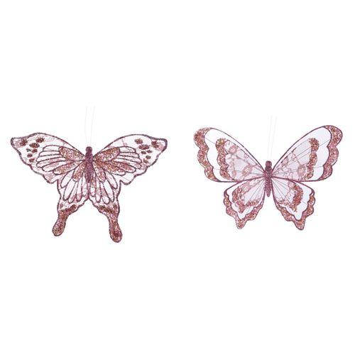 Clip papillon rose 30cm
